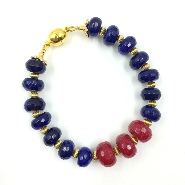 Laboratory-created Natural Stone Jewelry Classic Fabulous Rubies Dark Sapphires Beads  Bracelet for Women (length 22cm)