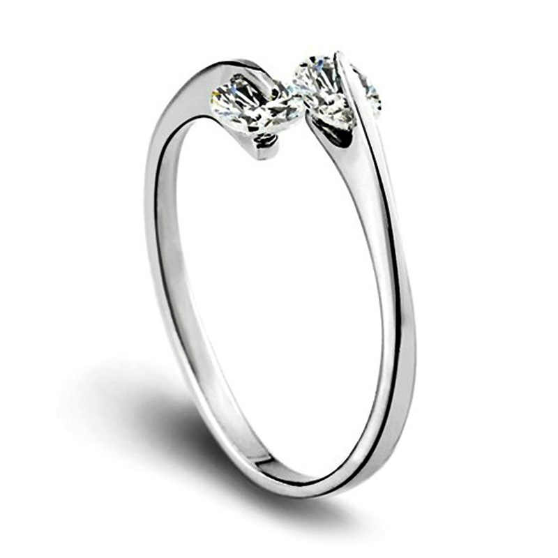 Simple Inlay CZ Open Ring For Women Silvery color Charm Party Finger Jewelry Dropshipping Wholesale