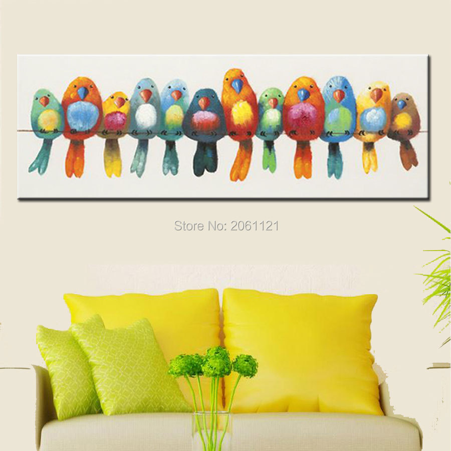 funny hand painted canvas oil painting colorful birds canvas art ...