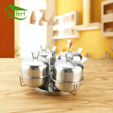 New 4Pcs/Set Rotating Stainless Steel Sugar Bowl Seasoning Jar Condiment Pot Spice Container