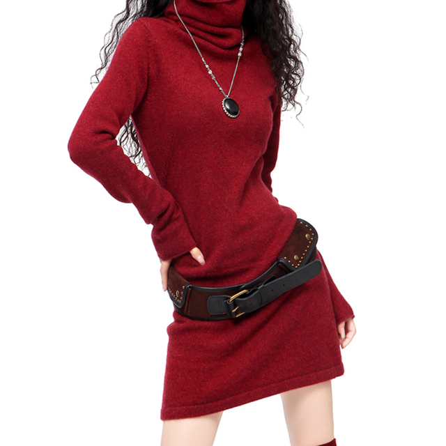 Robe pull col roule rouge