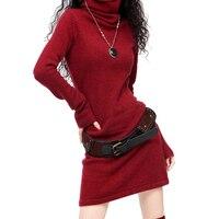 Women S Long Flare Sleeve Cashmere Wool Turtleneck Vintage Sweater Dress Women Winter Black White Red