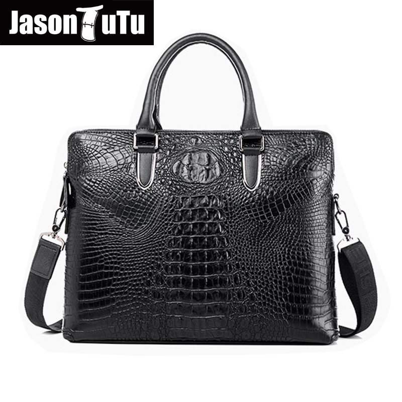 100% guarantee Genuine Leather Handbag Men Bag high quality Alligator Business briefcase Vintage Crossbody Shoulder Bag HN156