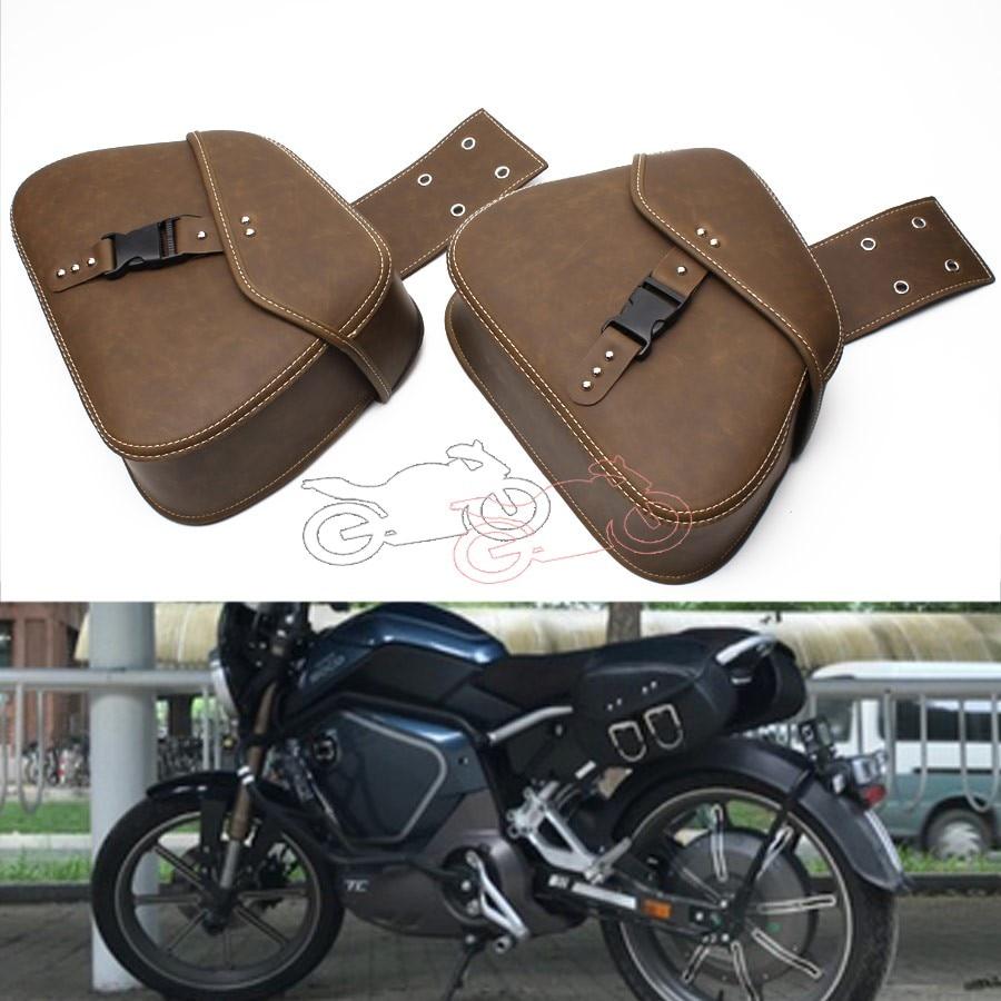 1Pair Motorcycle Retro Old School PU Leather Saddlebag Saddle Bag Luggage Bag Tool Bags Universal For Harley Honda Kawasaki