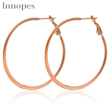 Innopes Gold hoop earrings trendy exaggerated big round stainless steel womens fashion  earring