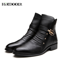 2018 Business Casual Boots Genuine Leather Men Shoes Fashion Male Winter Ankle