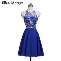 Royal Blue Short Homecoming Dresses For Girls 2017 Sexy Hater Knee Length Cockail Party Real Picture Cheap Beading Crystal Shiny