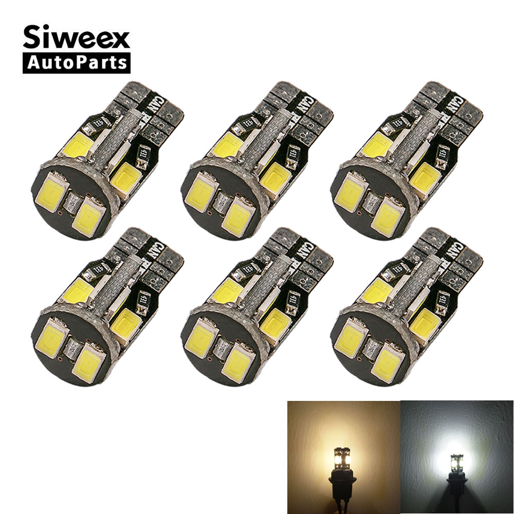 цена на 6x W5W LED T10 10 SMD 5730 Car lights 168 194 Turn Sign License Plate Light Lamp Templates Reading Bulb 12V White Warm White