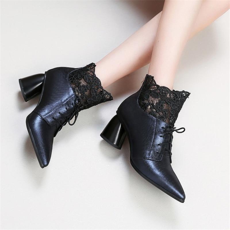 71e50818175 Ouqinvshen Cruz blue Alta Damas Zapatos short Up Otoño Mujeres Moda Calidad  Dedo Botas Strange Tobillo ...