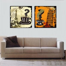 2 Piece Abstract Canvas Painting Coffee Old Style Wall Pictures Paris Eiffel Leaning Tower Artwork Quadro Cuadros Decor No Frame