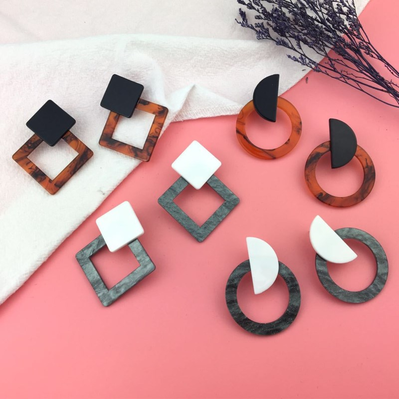 2018 Fashion Jewelry Leopard Acrylic Resin Oval Dangle Earrings For Women Geometry Big Circle Square Earrings Acetate Brincos