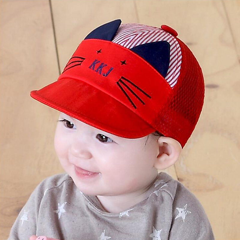 Cute Cartoon Cat Hat Kids Baseball Cap Infant Boy Girl Soft Cotton Caps  Infant Visors Sun Hat Summer Children Mesh Cap 9b4f38c2e1e