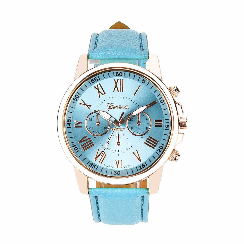 Vente chaude nouvelle marque de luxe montre femmes montres genève chiffres romains en cuir Quartz hommes montre robe horloge montre femme 2018