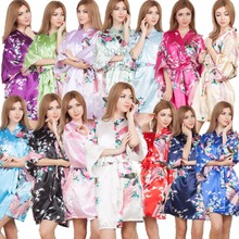 Hot Silk Satin Wedding Bride Bridesmaid Robe Floral Bathrobe Short Kimono Night Robe Dressing Gown For Women One size fit S-XXL cheap Robes Rayon Polyester Faux Silk MeiYeSiDa Half Knee-Length One Size fits S-XXL Spring Faux Silk Rayon Animal