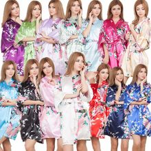 Hot Silk Satin Wedding Bride Bridesmaid Robe Floral Bathrobe Short Kimono Night Robe Dressing Gown For Women One size fit S-XXL(China)