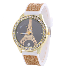 Girls's Colourful Style Luxurious Crystal Rhinestone Watch Ladies' White Delicate Silicone Belt Watch