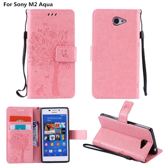 brand new 7f030 74d34 Aliexpress.com : Buy Coque For Sony M 2 Embossed Leather Wallet Flip Cover  Case For Sony Xperia M2 Aqua S50h D2303 D2305 D2306 Dual Sim D2302 Fundas  ...
