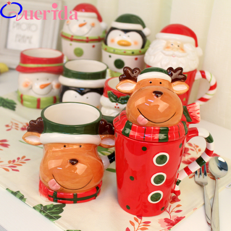 Christmas Ceramic Mugs Creative 3D Animal Cups Couple Coffee Cup Mug With Lid Breakfast Cup Gift Cup