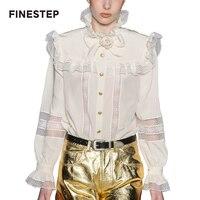 Натурального шелка блузка рубашка для Для женщин белая блузка рубашка Топ Роскошные шелковая блузка Для женщин белая блузка с рюшами с раск