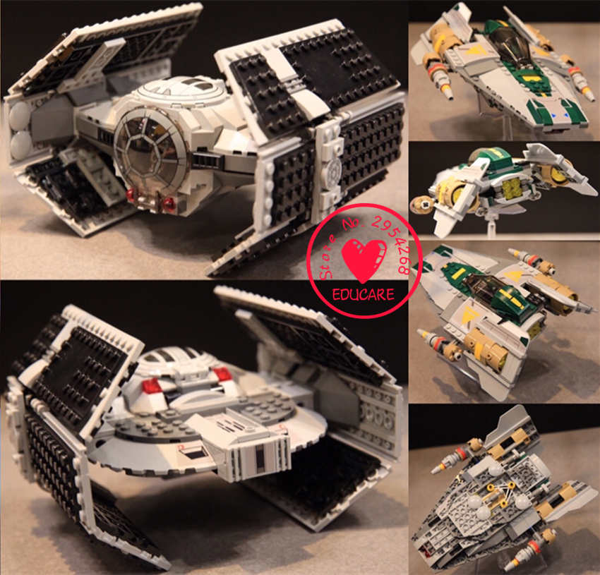 lepin Space 05030 Star wars Vader Advanced VS A-wing Starfighter model Building Blocks Toy compatiable with lego kid gift set lepin 16014 1230pcs space shuttle expedition model building kits set blocks bricks compatible with lego gift kid children toy