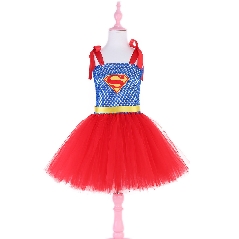 Kid Girls Superman Princess Dresses Girls Cosplay Dress Up Costume Kids Party Tutu Halloween Dress Fancy Party Carnival Clothes