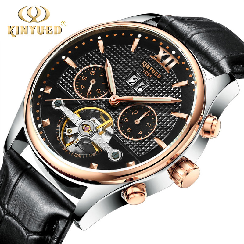 KINYUED Fashion Brand Mens Watch Tourbillon Automatic Mechanical Male Wristwatch Date Luxury Leather Strap Watches Waterproof kinyued brand men self wind waterproof stainless steel strap automatic mechanical male black dial fashion tourbillon watch