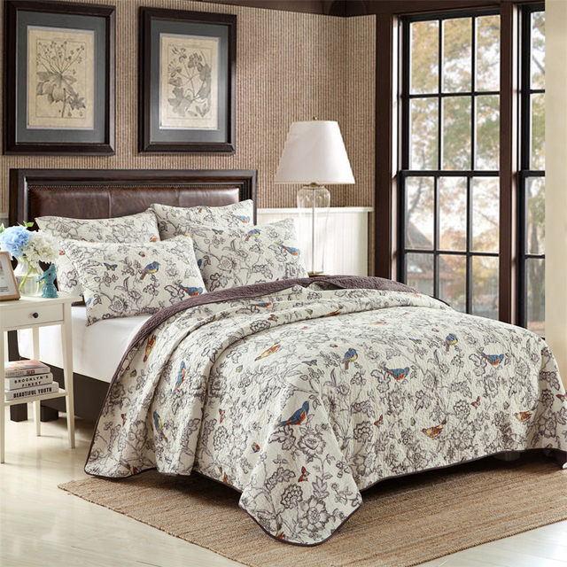 Beautiful 3pcs Oversized 100% Cotton Summer Quilt Bird Printed Stiched Bedspread  Thickening King Queen Size Bed