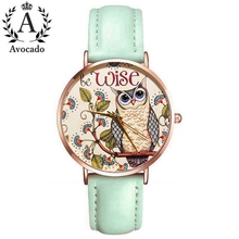 New Wrist watch owl bird Women's watches forest clock girl student gift leather green pink strap quartz watch Ladies Rose Gold цена и фото