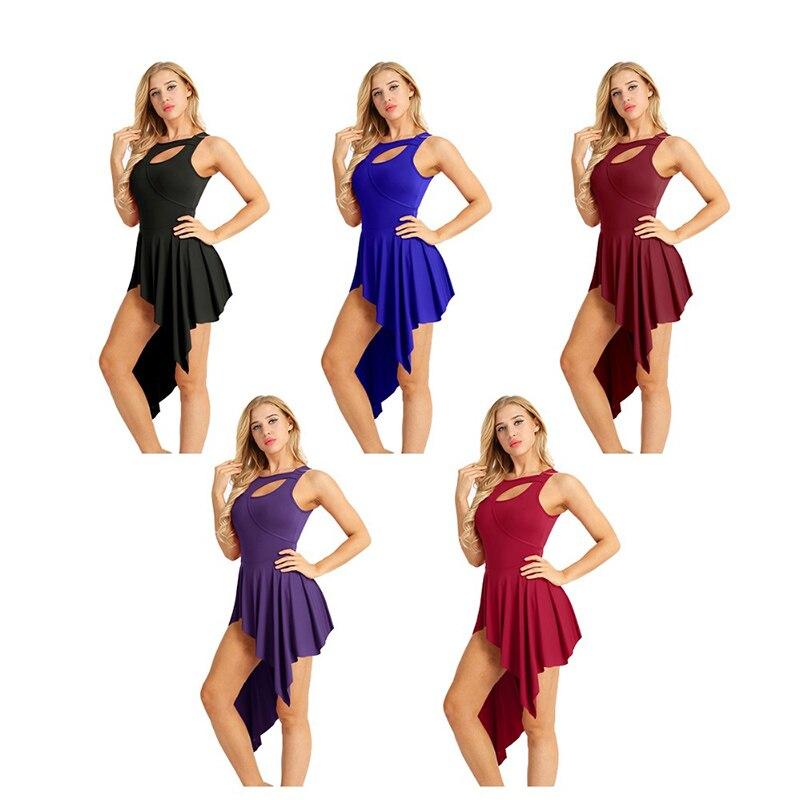 Image 2 - 大人の現代的なダンス衣装バレエダンスドレスフロントカットアウトステージパフォーマンス体操バレエ現代レオタードダンスドレス    グループ上の ノベルティ