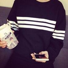 2017 harajuku style three bars striped t shirts women hoodie casual long-sleeved loose t shirt female student women tops gray