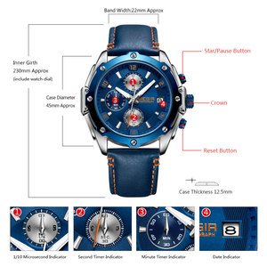 Image 5 - MEGIR Mens Chronograph Quartz Watches Leather Strap Army Sports Casual Wristwatch Man Relogios Masculino Clock 2074 Blue