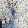 Coreano verão cintura fina grande rebite buraco velho jeans feminino calças nove pés personalidade mendigo calças