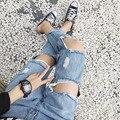 Viejos pantalones vaqueros de corea del verano de la cintura delgada grande de remache hueco nueve pantalones pies femeninos pantalones mendigo personalidad