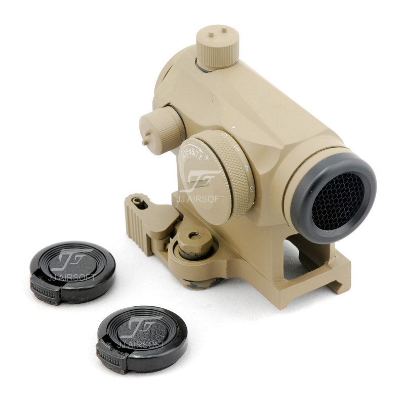 JJ Airsoft 1x24 Red Dot with QD Riser Mount & Killflash / Kill Flash (Tan) jj airsoft xps 3 2 red green dot qd mount tan