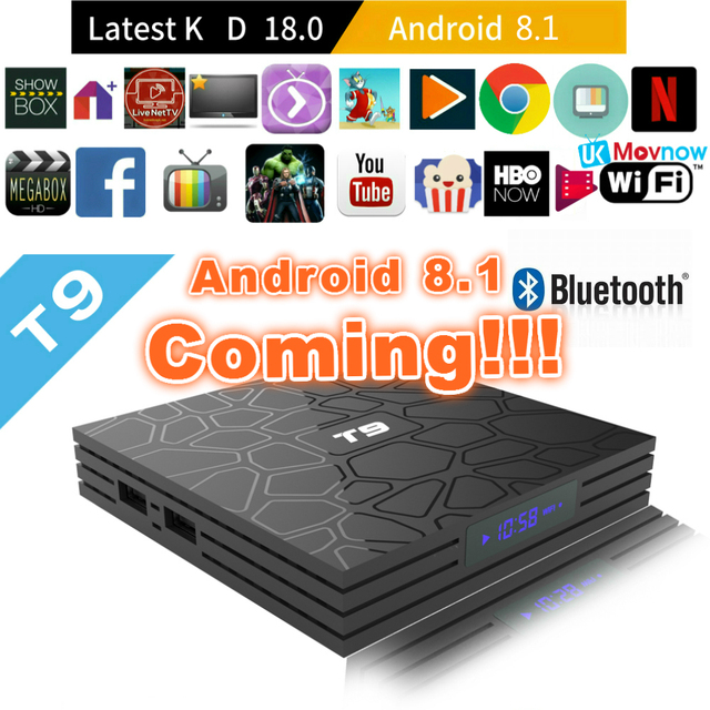 tv box android t9  2018 T9 Android TV BOX Android 8.1 4GB 32GB 64GB Rockchip RK3328 H ...