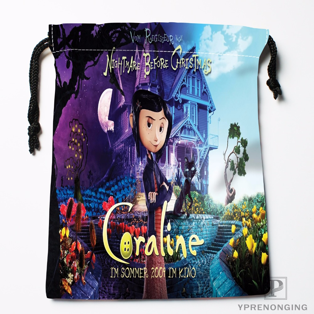 Custom Coraline Drawstring Bags Travel Storage Mini Pouch Swim Hiking Toy Bag Size 18x22cm 0412 03