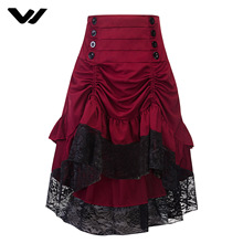 Skirts Womens Vintage British Style High Waist Ruffles Tartan Skirt Womens Asymmetrical Lace Tight-Fitting Hip Skirt