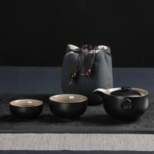 Ceramics Kung Fu Tea Set With Bag Purple Sand Gaiwan Travel Teaware Sets Portable Quick Cup Office Flowing Small