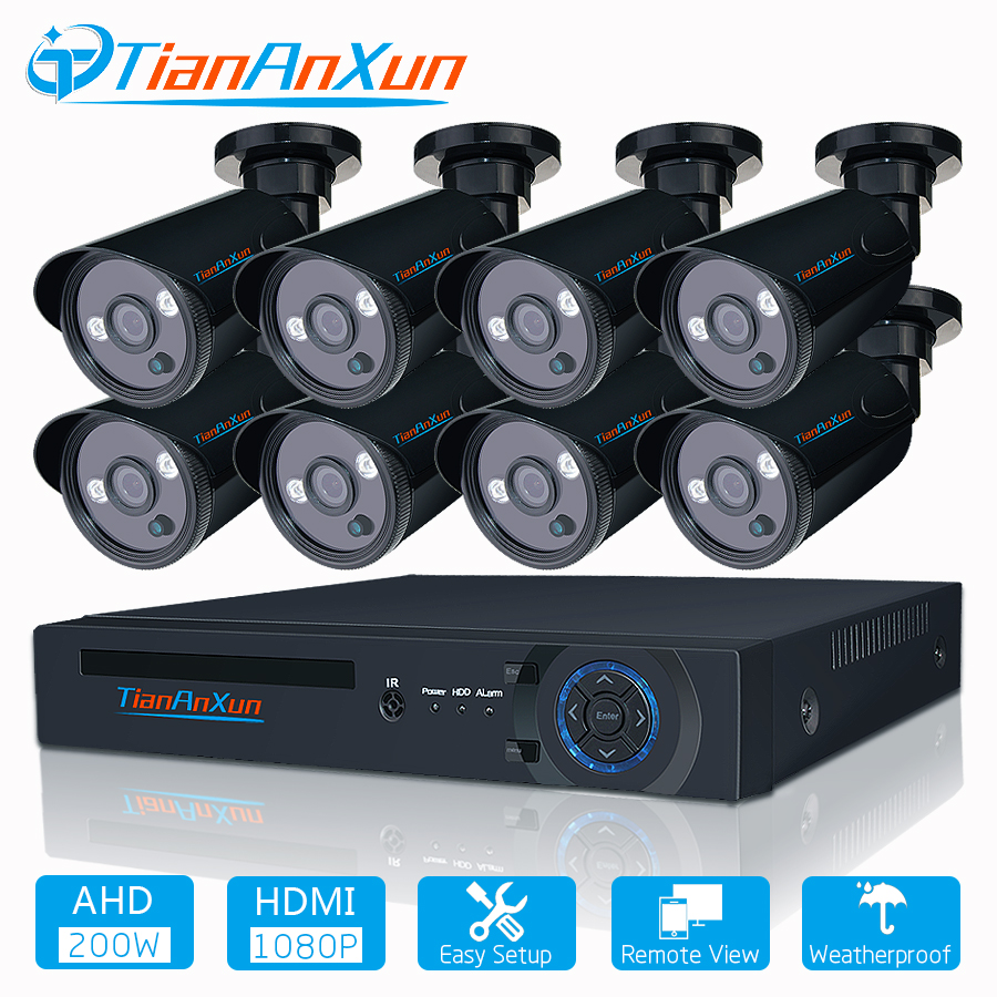TIANANXUN 8CH 1080P POE NVR CCTV System 8pcs 2MP HD Outdoor IP Camera Night Vision Security Video Surveillance Kit P2P APP View