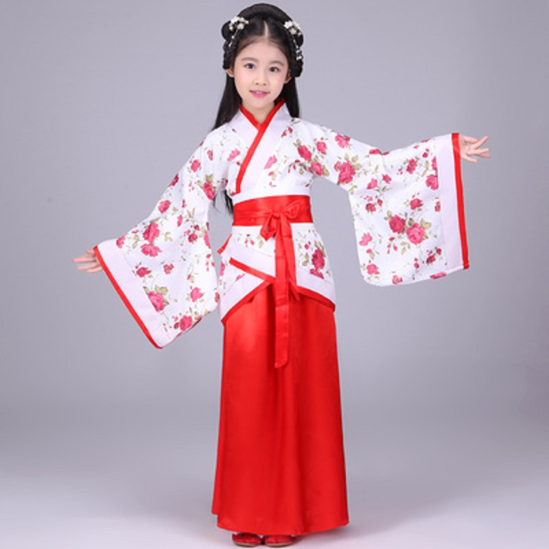 halloween costume for kids traditional chinese dance dress ancient costume hanfu for girls kids kid child red woman costumes