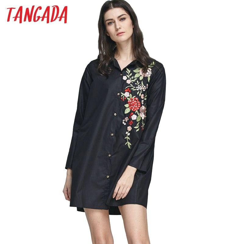 Tangada Women Long Blouses Vintage Black Floral Embroidery