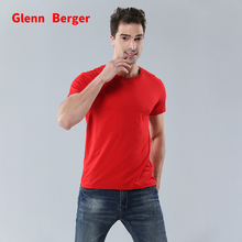 GLENN BERGER new  sports short-sleeved men t-shirt couple tight solid color round neck high quality cotton stretch silk LS1772