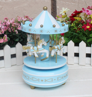 Azul do vintage De Madeira Caixa de Música Do Carrossel Carrossel Crianças Crianças Brinquedo de Presente de Aniversário Das Meninas