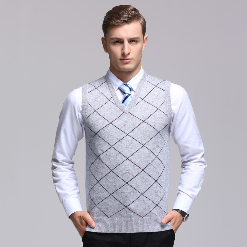 new fashion Male wool Plaid Sleeveless Thick Sweater men Computer Knitted V neck Vest Sleeveless high