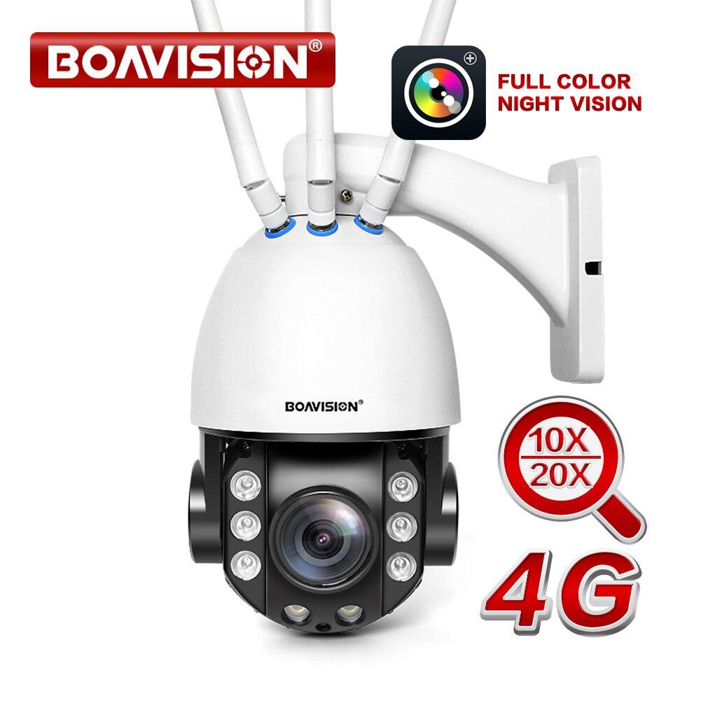 Cartão SIM 4G PTZ Sem Fio Da Câmera 1080P 10X/20X Optical Zoom Ao Ar Livre Câmera de Segurança CCTV em Dois Sentidos áudio Full Color Night Vision