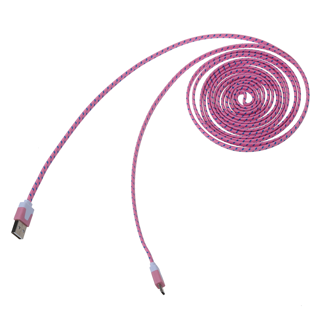 HFES 3M/10Ft Nylon net weave Micro-USB Data cable Pink