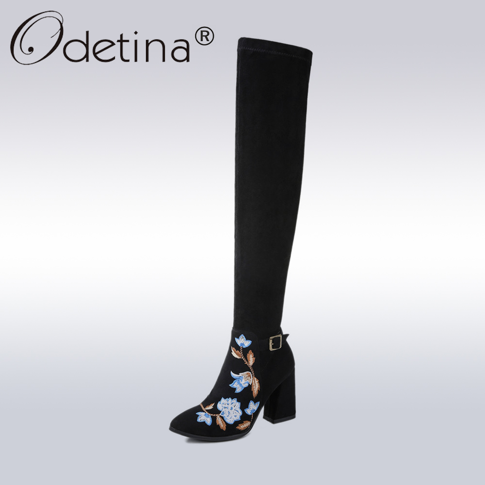 Odetina Fashion Flower Embroidery Boots Women Genuine Leather Suede Over-the-Knee Boots Lady Embroidered High Heels Long Boots ppnu woman winter nubuck genuine leather over the knee snow boots women fashion womens suede thigh high boots ladies shoes flats