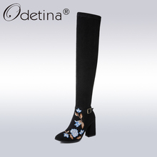 Odetina Fashion Flower Embroidery Boots Women Genuine Leather Suede Over-the-Knee Boots Lady Embroidered High Heels Long Boots