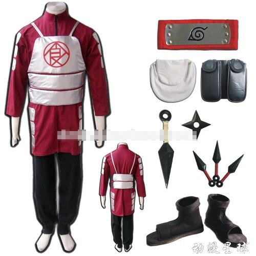Naruto Akimichi Choji cosplay costume include shoes kunai headband leg waist bag full set