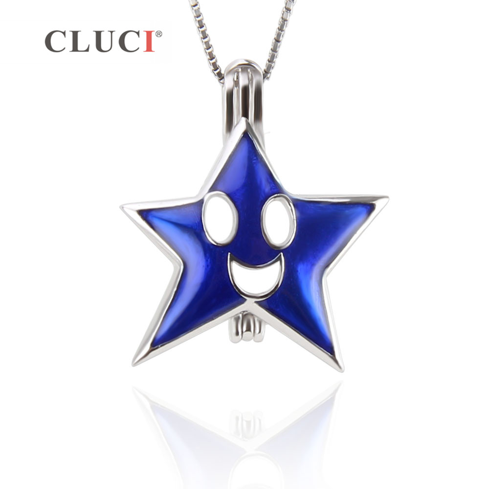 CLUCI New 925 sterling silver Happy Smile Face Necklaces Pendant Cute Facial Expression Blue Star Pendant Necklace for girls/kid